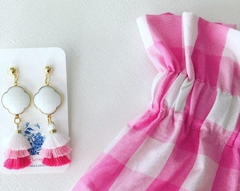 PINK and WHITE OMBRÉ Mini Stacked Tassel Earrings | clover, quatrefoil, gemstone, lightweight, dainty, tiered, layered, ombre, posts