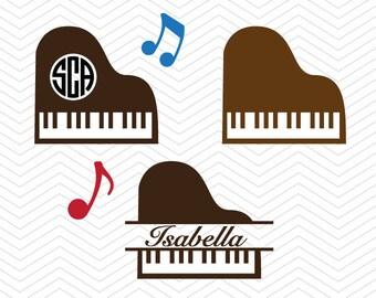 Piano Monogram SVG DXF PNG eps Music notes Cut File for Cricut Design, Silhouette studio, Sure A Lot, Makes the Cut, instant Download