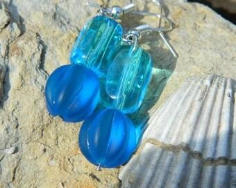Chunky blue earrings, geometric earrings, jewelry, earrings, dangle earrings, drop earrings, blue earrings, boho, round