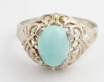 Oval Turquoise Filigree Solitaire- Sterling Silver
