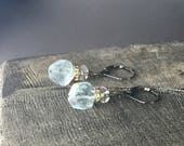 Light Aquamarine Earrings with Swarovski Rhinestone Rondelles, Sterling Silver