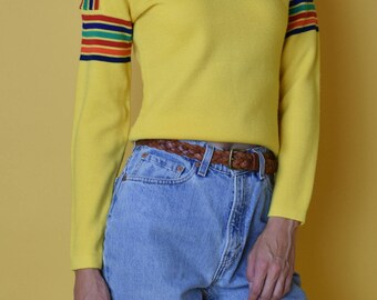 1970's Vintage Yellow And Rainbow Pullover Sweater