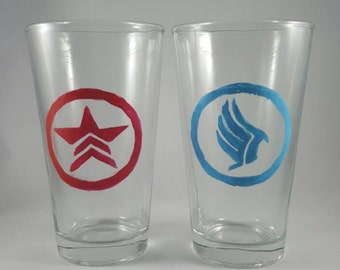 Mass Effect Renegade & Paragon inspired hand-painted pub glasses