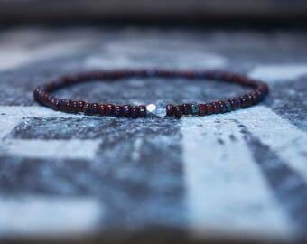Aquamarine Bracelet for Men - Mens Seed Bead - Karen Hill Tribe silver - Red bracelet, Mens gift for him Husband Gift, Mens Seed Bead