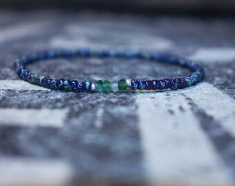 Mens Onyx Bracelet - Men's Shaded Green Onyx Bracelet - Ethiopian Silver spacers, Mens gift for him Husband Gift , Mens Seed Bead
