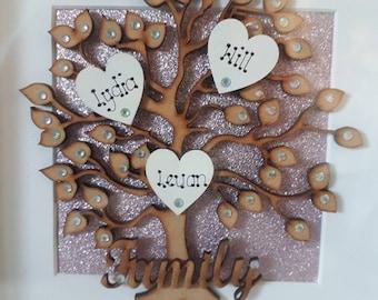 family tree 3d box frame