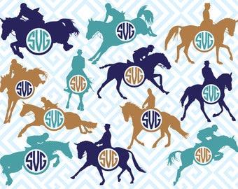 Equestrianism Men Monogram, Digital Cuting Files, Svg Files for Silhouette, Cricut, Sports Monogram, Equestrian SVG, 09luna