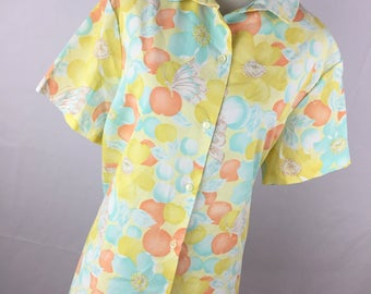 Vintage 60s Shirt Lady Blair Yellow Blue Floral Flower Butterfly Summer Button Down Short Sleeve Womens Size 22 Plus Size V5