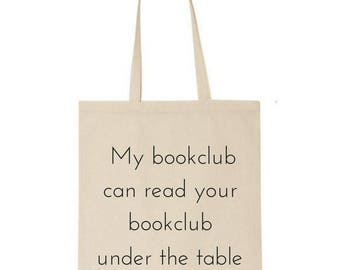 Bookclub tote bag - bookish - market bag - book lover - gift for reader