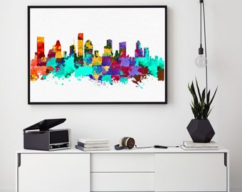 Houston Skyline Print, Houston Poster, Watercolor Skylines, Houston Decor, Home Decor, Nursery Wall Art (N146)