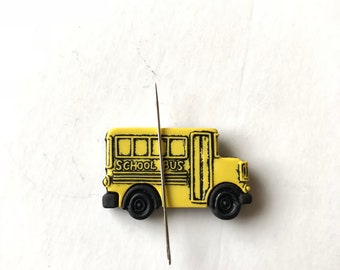 School Bus Needle Minder, Bus Needle Nanny, Yellow Bus Needle Keeper, Cross Stitch, Embroidery Tools, Teacher Gift, Sewing Tools