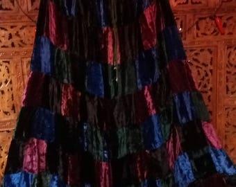 rainbow velvet patchwork hippie skirt