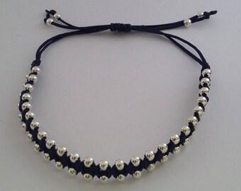 Adjustable Handmade Macrame Bracelet with Sterling Silver Beads, Royal Blue Sumptuous Bracelet, 3mm beads