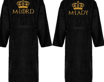 Personalised dressing gown, Game of Thrones bath robe, His and hers robes, wedding gift, embroidered name, couples robes, GOT