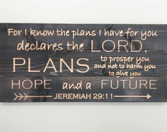 "Jeremiah 29:11 Bible Verse Wall Art - 35"" x 16"" - Horizontal - Pallet Wood Style !!FREE SHIPPING!!"