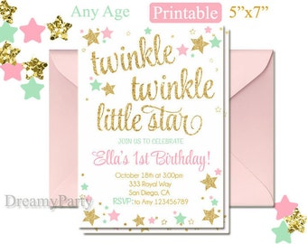 Twinkle Twinkle Little Star First Birthday Invitation, Twinkle Twinkle Little Star Invitation, Pink Mint and Gold invitation, Digital File.