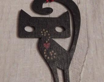 Wooden Hanging Black Cat