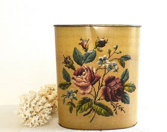 vintage metal rose flower trashcan bin waste basket needlepoint design trashcan bin waste basket
