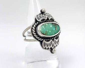 LaoOne * Sterling Silver Ring * stunning Statement Turquoise Ring