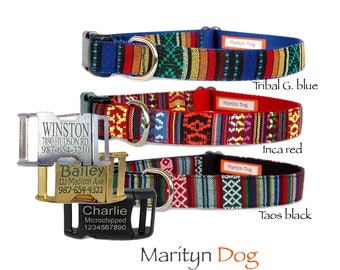 Dog collar Personalized dog collar Engraved Embroidery dog collar Dog tag Dog ID tag Large small boy girl Tribal Aztec dog collar Pet collar