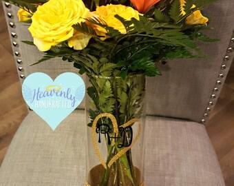 Custom Initials Glitter Dipped Valentine's Day Vase // Valentine's Day Vase // Valentine's Day Gift // Glitter Vase // Flower Vase Gift
