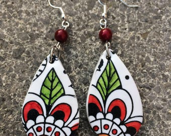the red and white polymer clay earrings