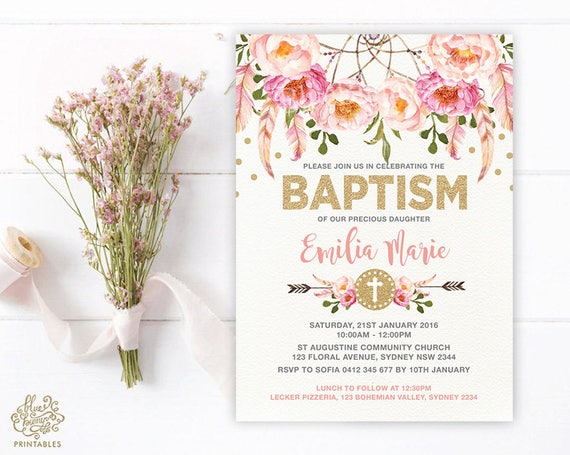 Girl baptism invitation pink and gold bohemian floral christening il570xn filmwisefo