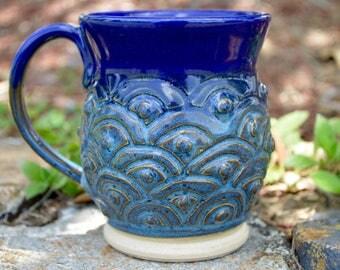 Blue Scallop and Dots Mug