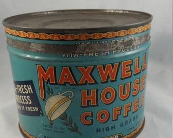 "1 lb Maxwell House High Grade Coffee Tin, Orange Letters and ""Good to the Last Drop"". 1930's Keywind Vita Press Process Keep it Fresh Can."