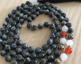 Dreamy Larvikite Mala, mala beads, prayer beads, spiritual jewelry, meditation jewelry, gemstone mala, healing crystals, yoga jewelry