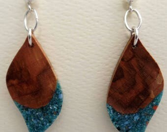 Maple Burl Earrings with Turquoise inlace with Sterling Silver Ear posts ball and Findings JER138SS