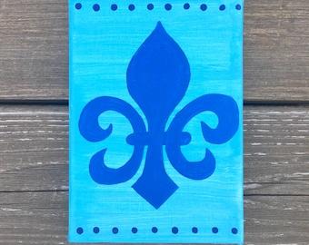 Fleur De Lis Blue and Blue Painted Canvas