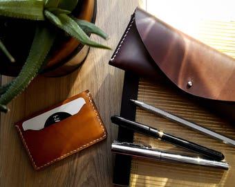 Leather cardholder, CHESTNUT  |  Card wallet  |  Slim leather wallet