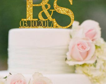 Initials Cake Topper Letter Cake Toppers Names and Date Personalized Wedding Cake Topper Monogram Cake Topper  Rose Gold Custom Topper