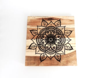 Mandala Wood Wall Art   Wood Art, Wood Home Decor, Wooden Wall Decor,