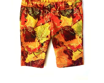 Print Capri Pants, Leaves, Burgundy Red, Orange, Yellow, Fits dolls such as American Girl, 18 inch Doll Clothes, Fall