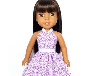 Halter Dress, Floral, Purple, White, 14.5, Fits dolls such as AG, Wellie Wishers, 14 inch Doll Clothes