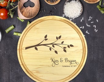 Personalized Cutting Board Round, Cutting Board Personalized, Wedding Gift, Housewarming Gift, Anniversary Gift, Christmas Gift, B-0033