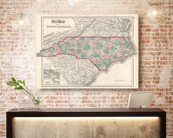 North Carolina State Map, North Carolina Map Canvas, Antiqued North Carolina Map, North Carolina Wall Decor, Map of North Carolina Canvas