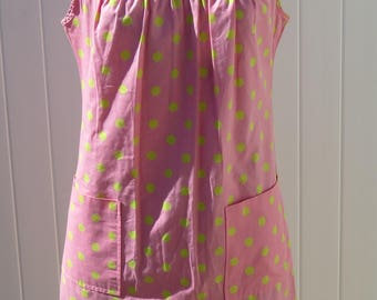 1960s yellow and pink polka dot dress/ 1960s shift dress/ vintage dress