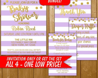 Baby Shower Invitation Lavender and Gold, Modern Baby Shower Invitation, Diaper Raffle, Books for Baby, Thank You, Neutral Shower Invitation