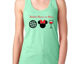 Drinking around the world RACERBACK tank, Disney Racerback, Disney world inspired shirt, Disney drinking shirt, Disney inspired, Minnie