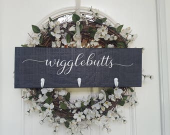 Wigglebutts Dog Leash Hanger Sign