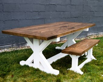 Trestle Base Dining Table / Farmhouse Dining Table  / Custom Dining Table / Barnwood Dining Table / Table with Bench / Turned Leg Table