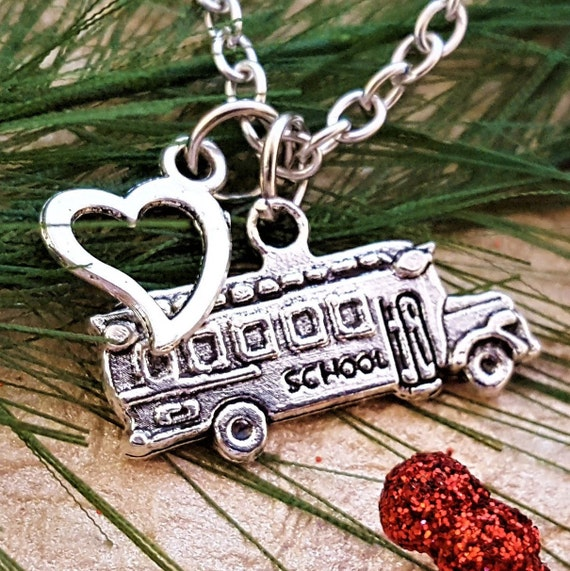 Gift for School Bus Driver. Bus Driver Charm Necklace, Bus Driver Jewelry, School Bus Charm, I Love My School Bus Driver Gift, Birthday Gift