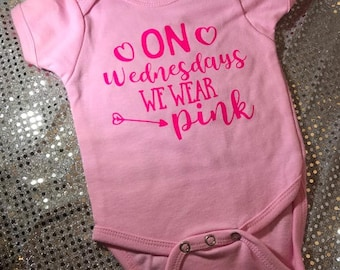 Mean Girls On Wednesdays We Wear Pink Personalized Baby Onesie