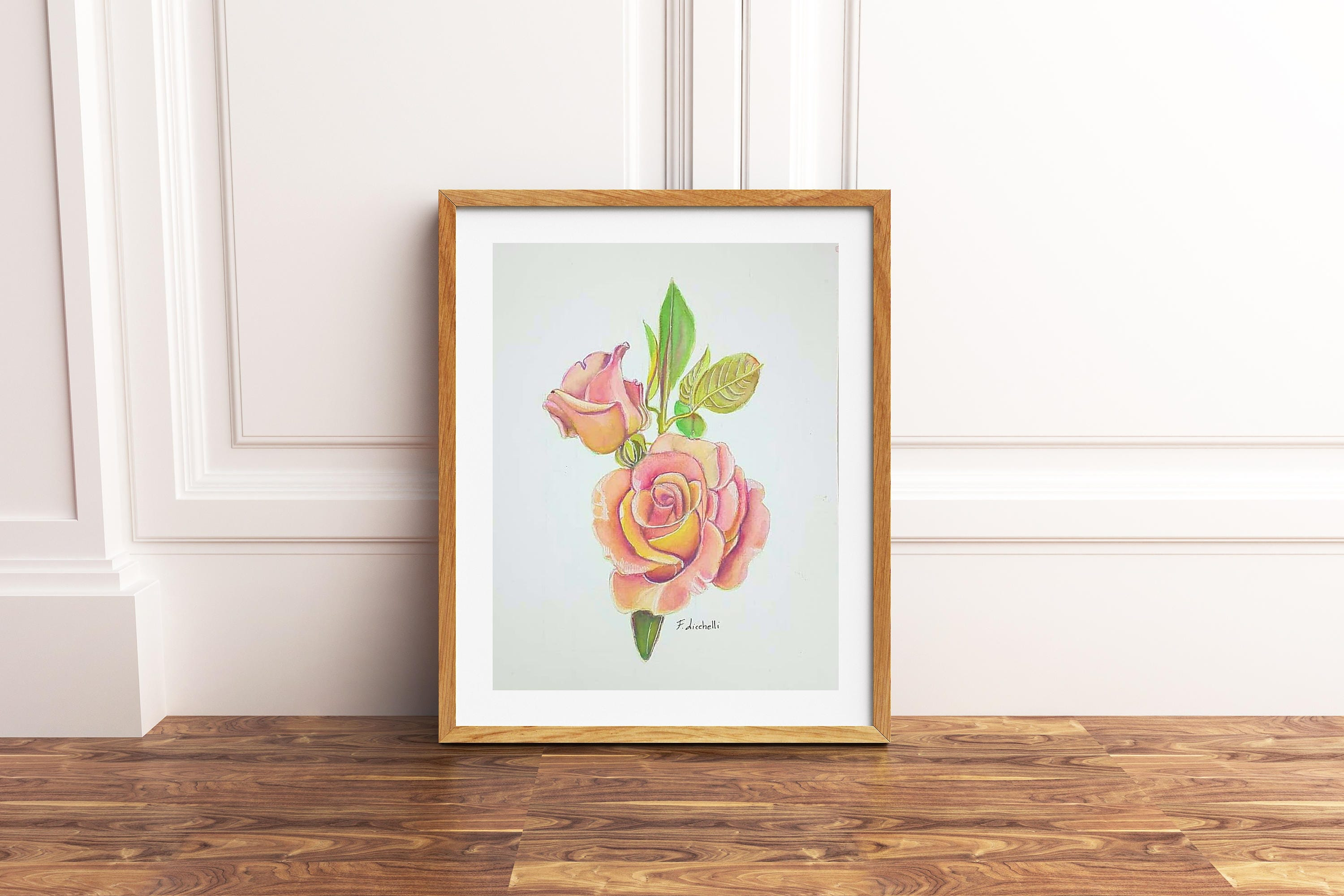 Pink rose rosebud original watercolor peach color ooak for Bedroom gifts for her