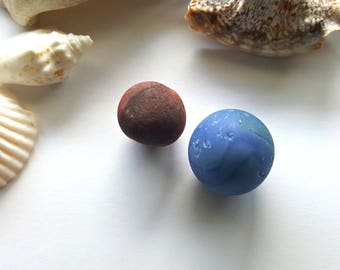Murano and Hawaiian Surf-Tumbled Sea Glass Marbles FREE SHIP