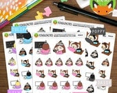 Lazy Party Kawaii Girls - Party Sleepy Tired TV Bed Lazy Day - Planner Stickers (K0025)