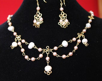 3 Pieces Set In Brass, glass pearls and Pearls